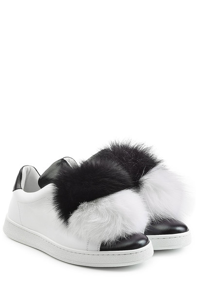 Joshua Sanders Leather Sneakers with Fox Fur  in white