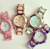 jewels,watch,geneva,hipster,swag,dope,gold,pink,green,mint jewelry,montre,cute watch,flowers,flowered,verte,floral watches,colorful,roman numerals