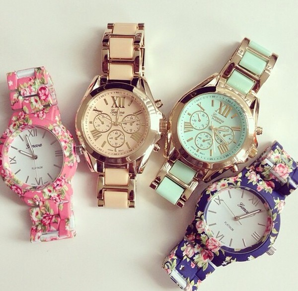 jewels watch geneva hipster swag dope gold pink green mint jewelry montre cute watch flowers flowered verte gold watch floral watches colorful roman numerals
