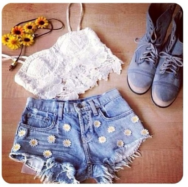 shorts denim blue daisy shirt daisy