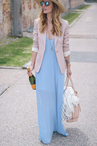 prosecco and plaid blogger shoes jewels hat bag pink jacket blue dress pink bag round sunglasses date outfit straw hat summer outfits