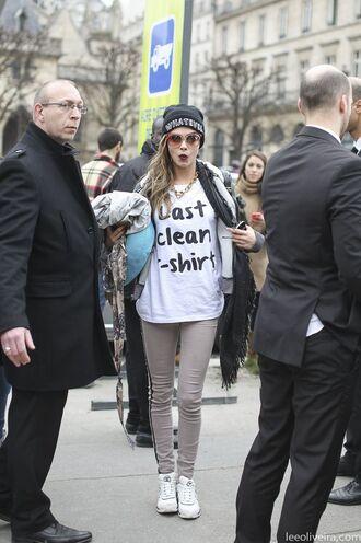 streetstyle sunglasses jeans sneakers white cap cara delevingne last clean t-shirt streetwear pants jacket