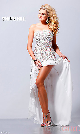 Long Strapless Sequin Dress, Designer Pageant Dresses- PromGirl