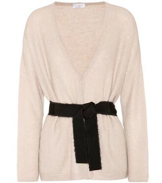 cardigan silk beige sweater