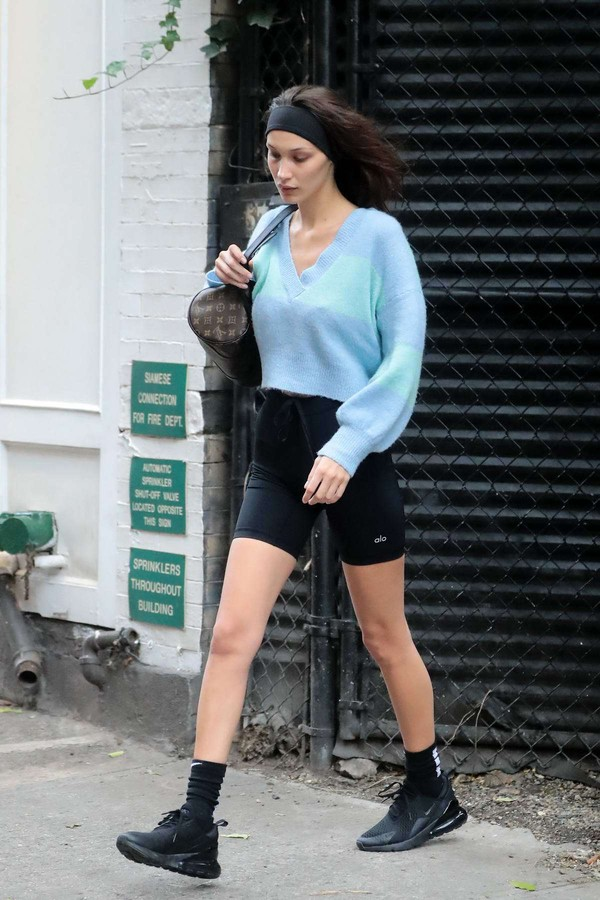 shorts pastel sweater bella hadid model off-duty sneakers casual