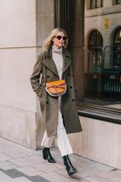 le fashion image,blogger,coat,pants,shoes,boots,turtleneck sweater,crossbody bag