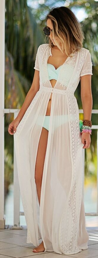 swimwear dress white cover up bathingsuit beach lace maxi sheer