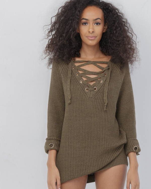 494610dbe01 MELANIE Olive Green Oversized Lace Up Sweater at FLYJANE