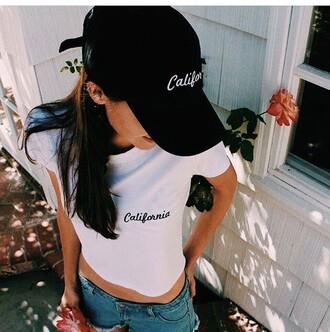 hat cap california t-shirt summer hot grunge girl top girly