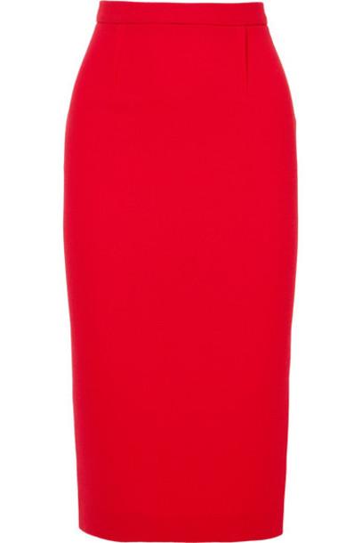 skirt pencil skirt wool red
