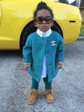 cardigan trill timberland style swag princess dope little chanel chanel t-shirt pea coat natural hair kids fashion children wear children's clothing timberland boots pants blouse blue light blue kids with swag streetstyle glasses chanel glasses fashion twitter cutie outfit