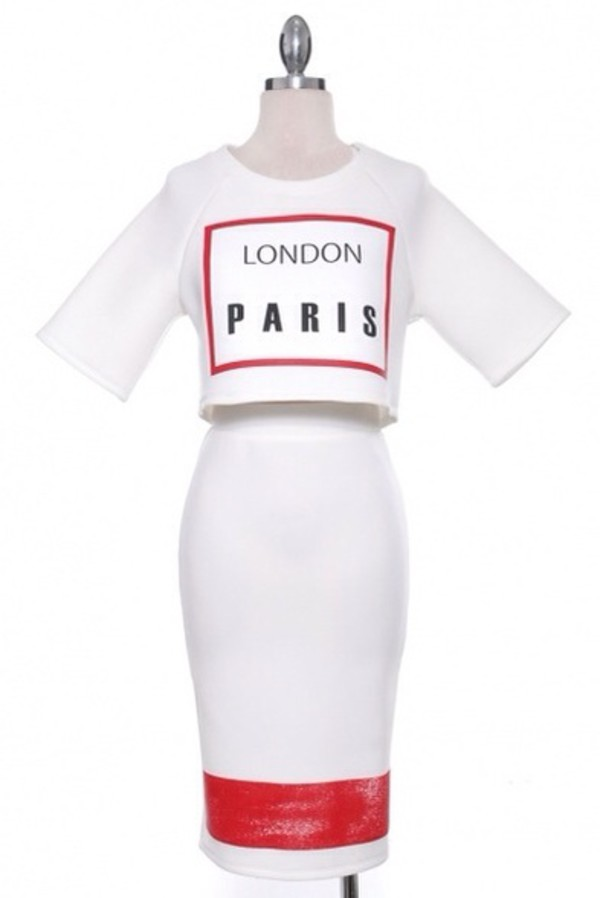 top set white top skirt party paris london