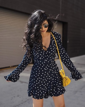 dress mini dress blue dress sunglasses spring dress polka dots wrap dress long sleeves long sleeve dress