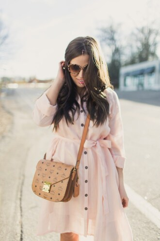 bohostylefile blogger dress bag shoes sunglasses jewels mcm bag cross shirt dress pink dress spring outfits