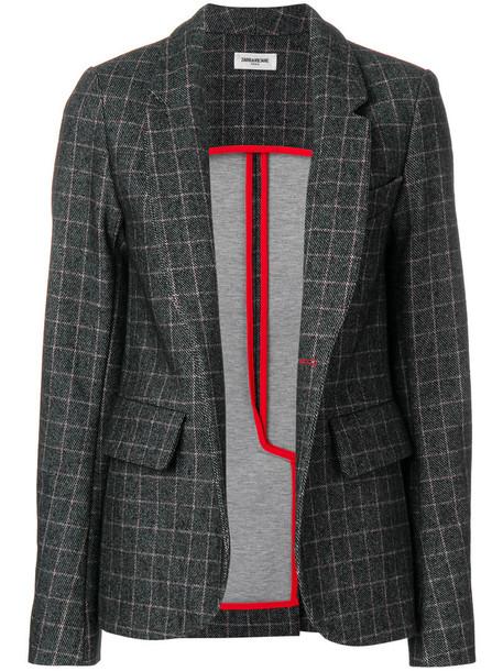 Zadig & Voltaire blazer check blazer women cotton black wool jacket