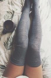 shoes,socks,knee high socks,grey,cozy,cute,underwear,sweater,tights,grey socks,grey over the knees socks,thigh highs,charcoal,coffee,asos,leggings,dress,style,long socks