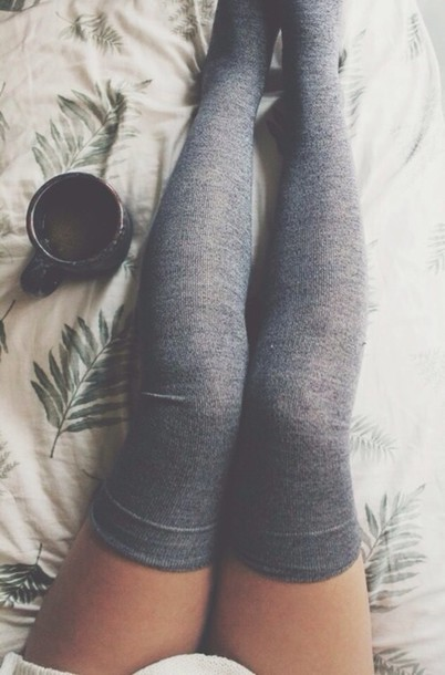 shoes socks knee high socks grey cozy cute knee high socks knee high socks knee high socks underwear sweater tights grey socks grey over the knees socks thigh highs charcoal coffee asos leggings dress style long socks