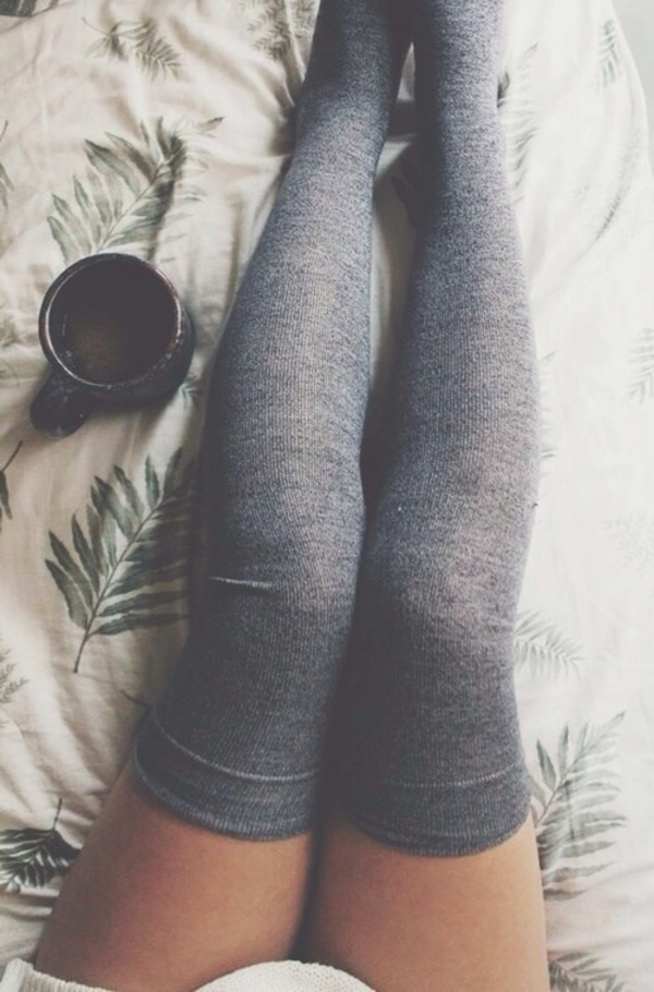 shoes socks knee high socks grey cozy underwear sweater grey over the knees socks thigh highs