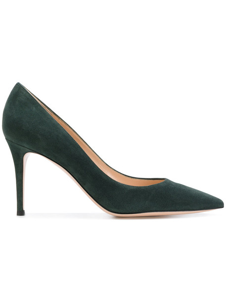 women pumps leather suede green shoes