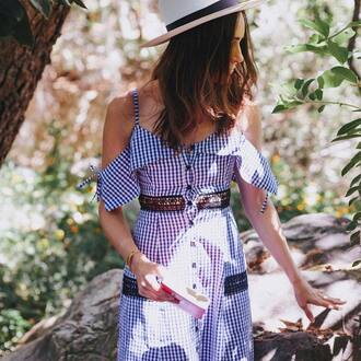 dress hat tumblr cut-out cut out shoulder gingham button up summer dress summer outfits sun hat