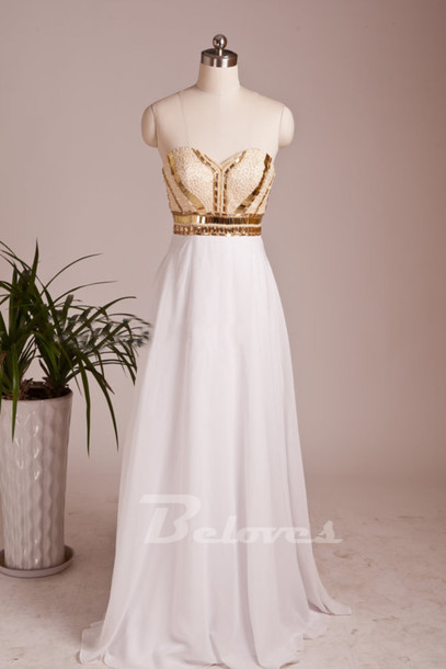 dress white sweetheart prom dress gold sequins bodice