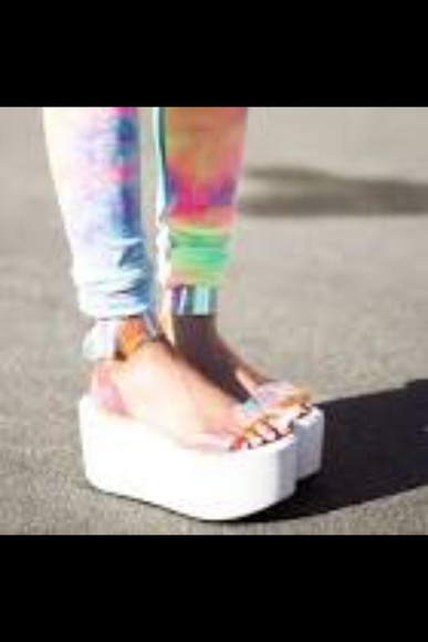 shoes white fashion platforms hologram shiny weird