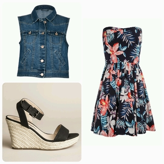 dress fleurie bustier jacket denim jacket shoes noire beige