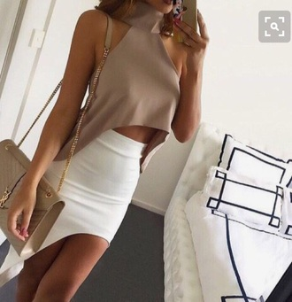 skirt beige cream nude outfit summer teenagers teenstyle summer outfits top two-piece