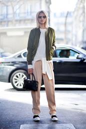 le fashion image,blogger,sunglasses,jacket,sweater,bag,pants,streetwear,minimalist