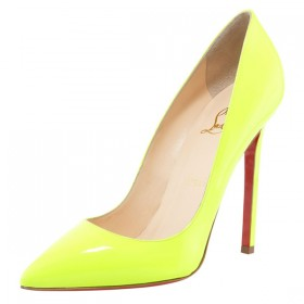 $193|Christian Louboutin Pigalle 120 Neon Yellow Pumps For Sale|shoptrendshoes.com