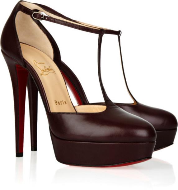198395012ed shoes heels high heels t-strap heels burgundy heels crimson heels platform  heels