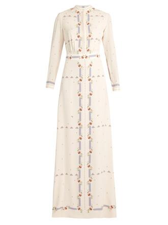 gown floral print silk cream dress