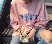 shirt,pink,the beatles,long sleeves