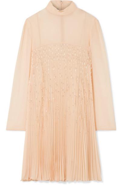 Prada - Crystal-embellished Plissé-georgette Mini Dress - Peach