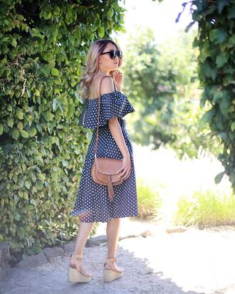 dress tumblr midi dress polka dots off the shoulder off the shoulder dress sandals wedges wedge sandals bag brown bag sunglasses