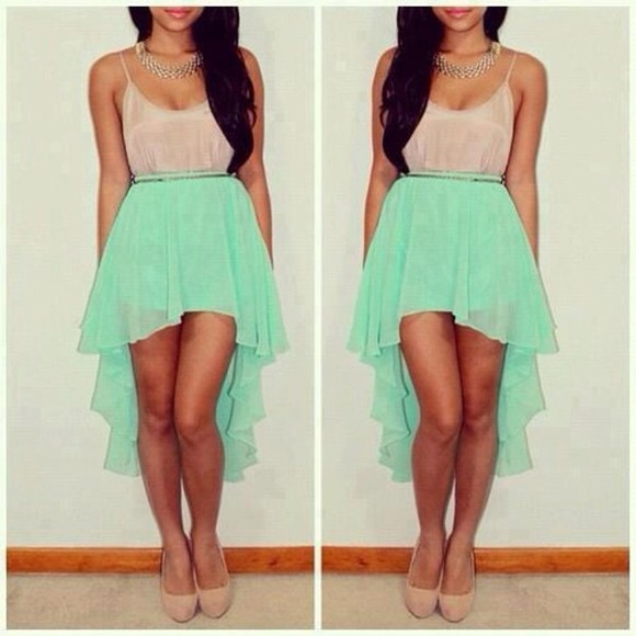 dress silk mint skirt nude silk