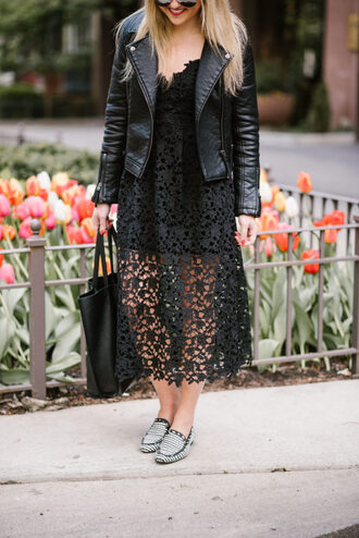 dress tumblr midi dress black dress black midi dress black lace dress lace dress jacket black jacket leather jacket shoes loafers bag