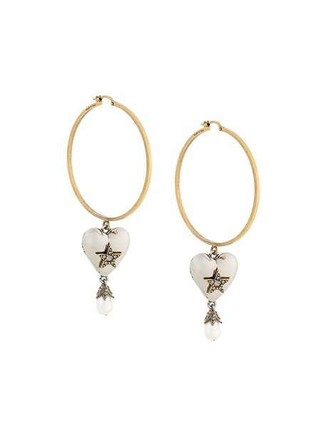 Alexander Mcqueen heart women pearl earrings hoop earrings grey metallic jewels