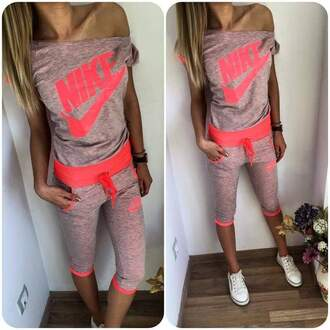 jumpsuit nike neon pink gray off the shoulder shirt shorts tracksuit sportswear swag fashion style