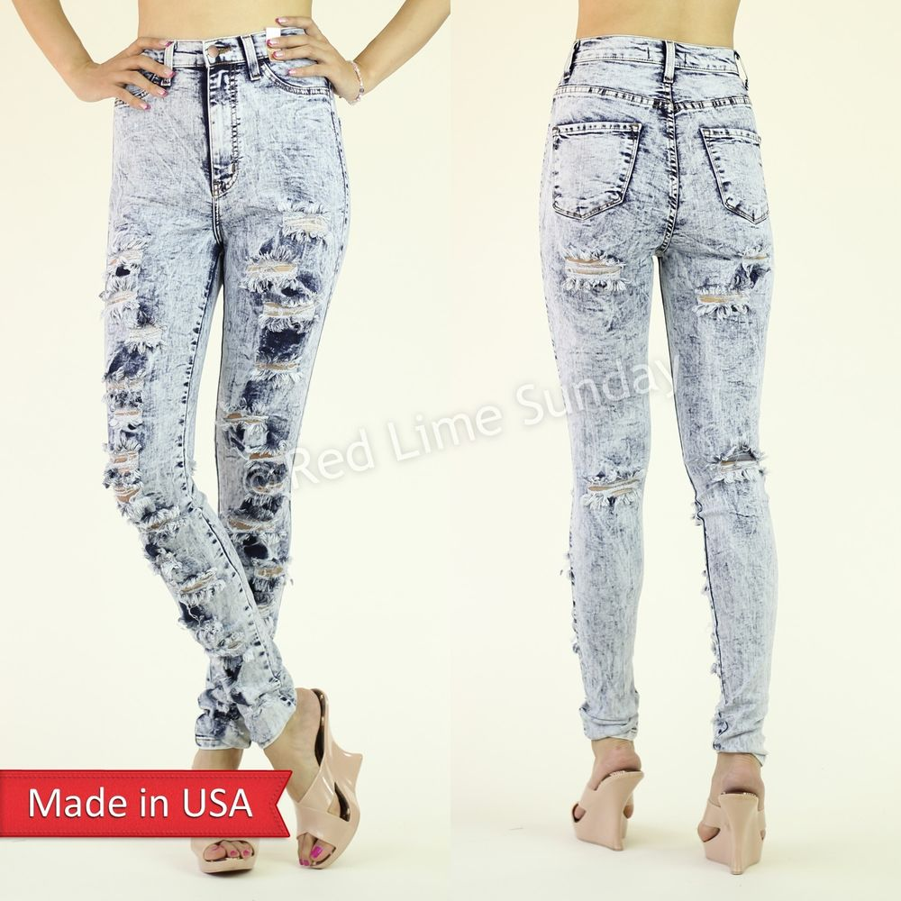 High Waist Light Washed Skinny Destroyed Ripped Cut Denim Jeans Regular Plus USA