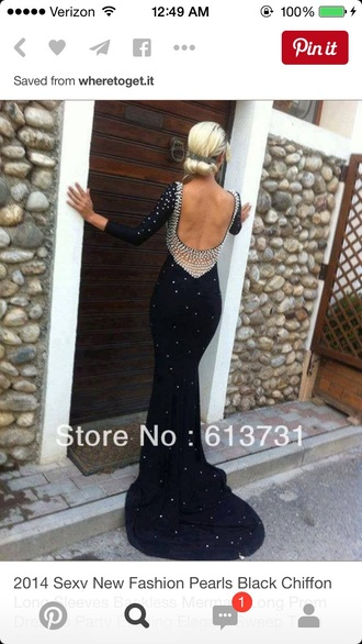 dress pearl black long prom pearl dress