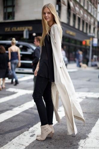 shoes black top beige cardigan black trousers beige ankle boots blogger