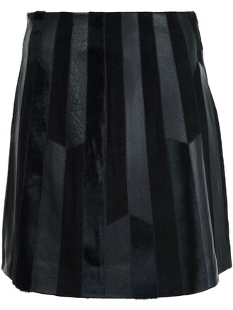 skirt leather skirt patchwork women leather black