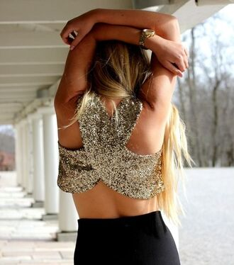 blouse sequins crop tops open back shirt gold top gold sequins gold dress tank top fashion style