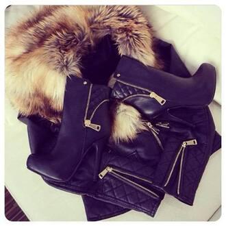 jacket cuir fourrure