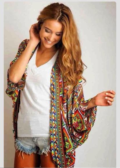 pattern cardigan mulit-color