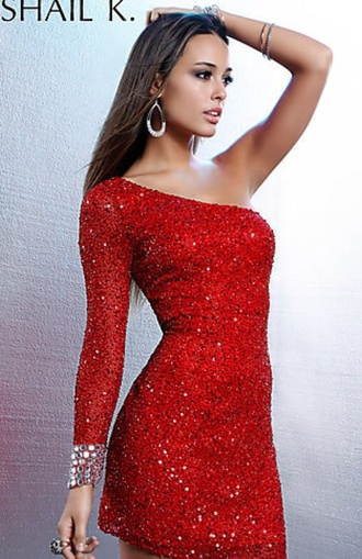 dress one sleeve sequins cocktail red