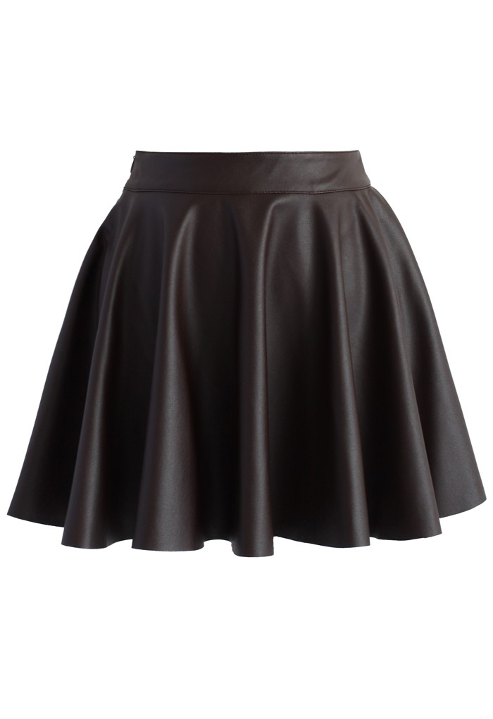 Soft Pleats Faux Leather Mini Skirt in Dark Brown - Retro, Indie and Unique Fashion