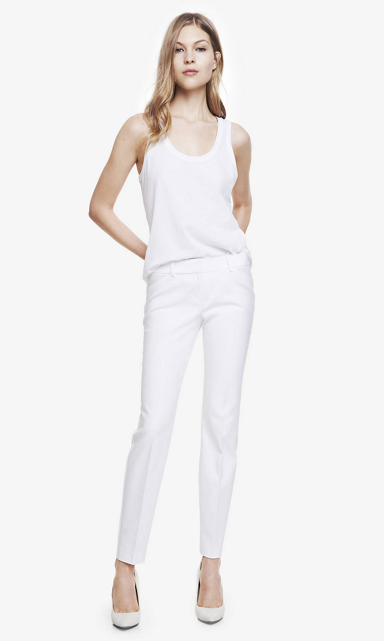 White ultimate double weave editor ankle pant from express