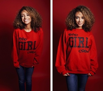 top red black girl girly brown style sweater fashion red sweater hair curls curly hair girly wishlist jeans crewneck long sleeves jewels jacket pants shirt